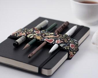 Journal Bandolier // birds & hearts // (a better pencil case, journal pen holder, book strap, pen loop, pencil roll, pen bandolier)