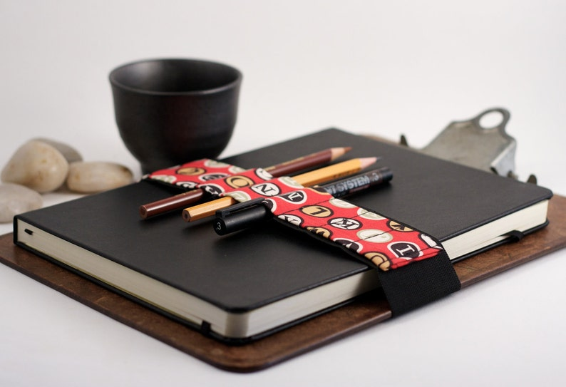 Large Journal Bandolier // red type // a better pencil case image 0