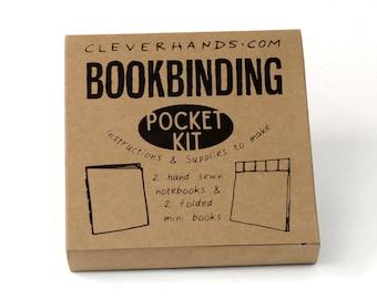 Pocket bookbinding kit - learn to make two sewn bindings,and two bonus folded mini books