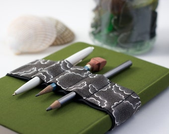 Journal Bandolier // black tempest // (a better pencil case, journal pen holder, book strap, pen loop, pencil roll, pen bandolier)