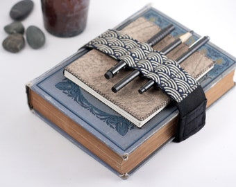Adjustable Bandolier // Zen Garden Navy // (a better pencil case, journal pen holder, book strap, pen loop, pencil roll, pen bandolier)