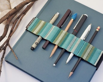 Large Journal Bandolier // blue green stripes // (better pencil case, journal pen holder, book strap, pen loop, pencil roll, pen bandolier)