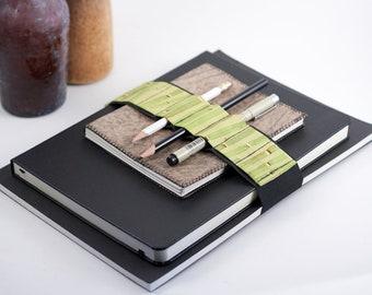 Journal Bandolier Large // bamboo // (a better pencil case, journal pen holder, book strap, pen loop, pencil roll, pen bandolier)