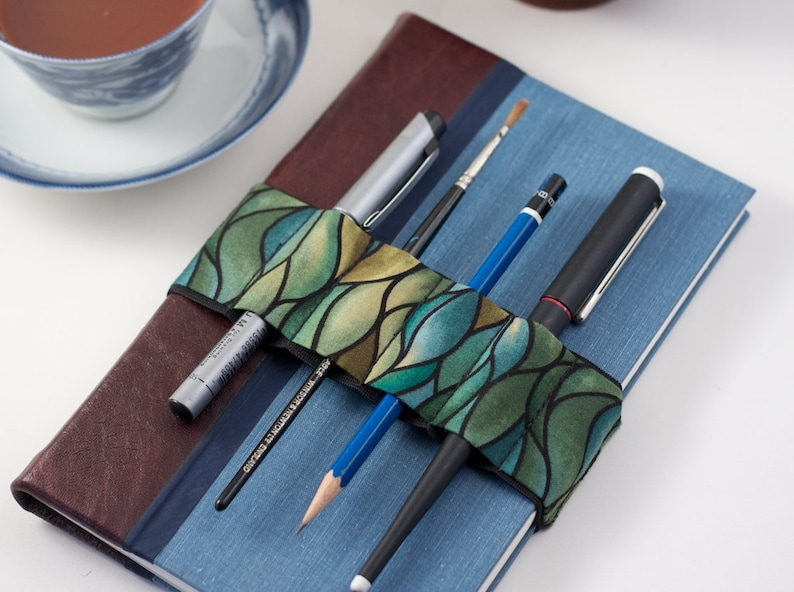 Journal Bandolier // green waves // a better pencil case image 0