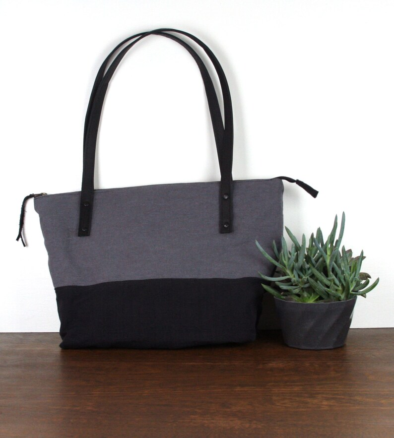 Zippered Tote  Over the Shoulder in Black & Grey image 0