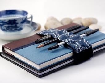 Adjustable Bandolier // navy tempest // (a better pencil case, journal pen holder, book strap, pen loop, pencil roll, pen bandolier)