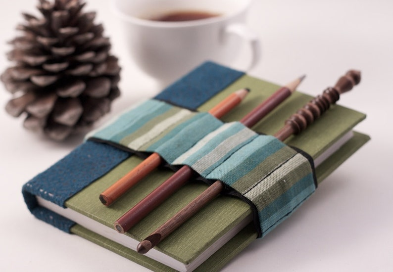 Journal Bandolier // blue green stripes // a better pencil image 0