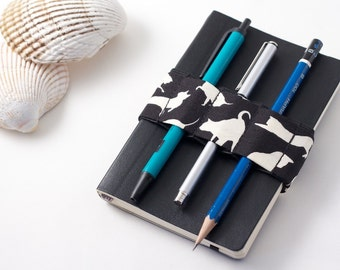 Mini Bandolier // cats // (a better pencil case, journal pen holder, book strap, pen loop, pencil roll, pen bandolier)