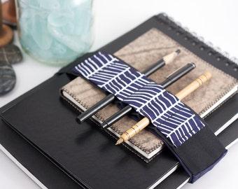 Adjustable Velcro Bandolier // cobalt lattice // (better pencil case, journal pen holder, book strap, pen loop, pencil roll, pen bandolier)