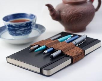 Journal Bandolier // wood grain // (a better pencil case, journal pen holder, book strap, pen loop, pencil roll, pen bandolier)