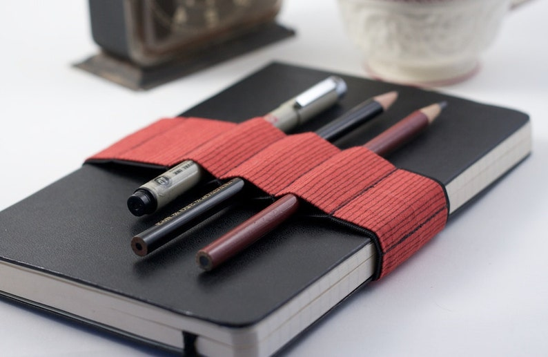 Journal Bandolier // red stripes // a better pencil case image 0