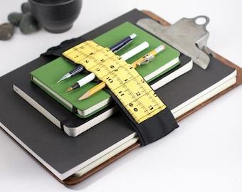 Adjustable Bandolier // yellow inches // (a better pencil case, journal pen holder, book strap, pen loop, pencil roll, pen bandolier)