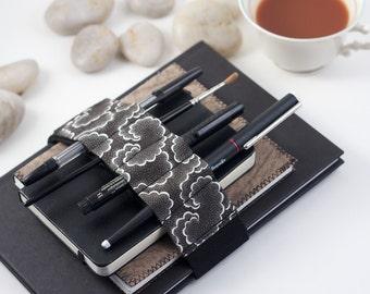 Adjustable Bandolier // black tempest // (a better pencil case, journal pen holder, book strap, pen loop, pencil roll, pen bandolier)