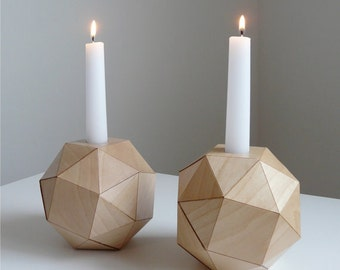 RESERVED  for Collette... set of 2, Polyhedron Wood Candlesticks