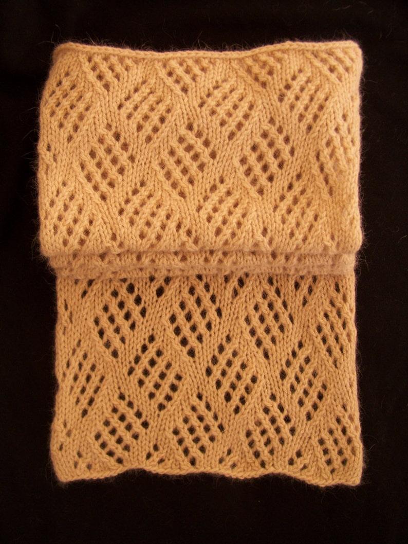 Hand Knit Scarf Angora Blend Muffler Lace Muffler Brown Etsy
