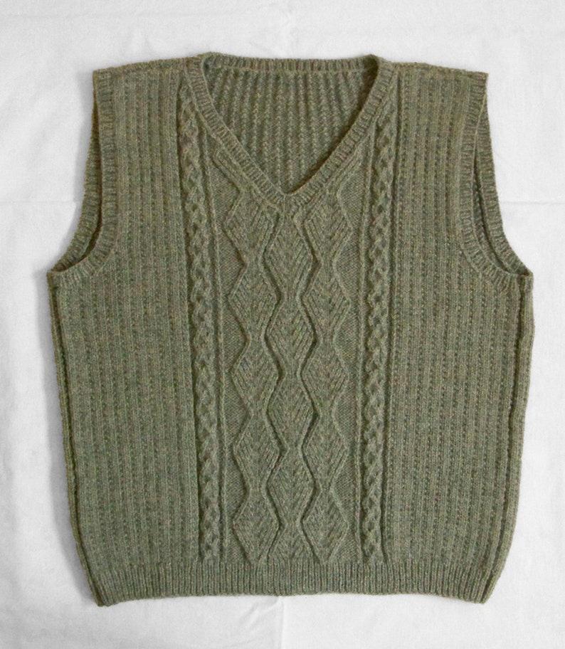 410b3357ec05 Aran Cable Knit Vest Hand Knit Sweater Vest Fishermans Cable