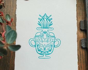 Bat Vase Letterpress Print Mini