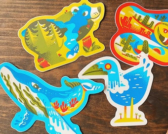 Shapes of Nature Sticker Pack | 4 Stickers | Animal Stickers