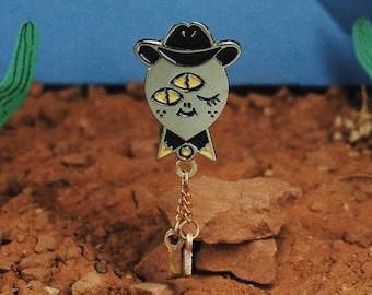 Space cowboy enamel pin with bolo tie | cute alien