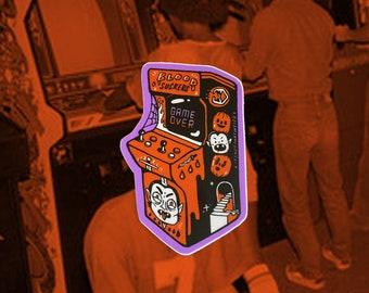 Blood Suckers arcade cabinet sticker   Halloween sticker