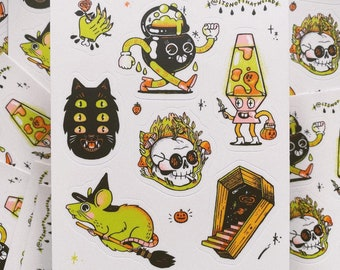 """Halloween 2021 sticker sheet   4.5"""" x 5.5"""" 7 stickers   happy spooky season"""