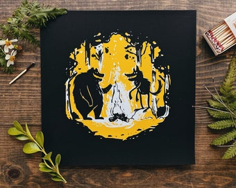 Bear and Wolf campfire in the woods screenprint