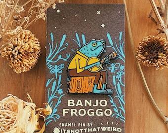 Banjo Froggo Enamel Pin | frog | toad