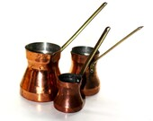 Set of Three Copper Turkish Coffee Pots - Graduating Spouted Copper Pots with Brass Handles - 50% Off Sale