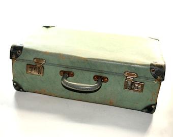 Blue Fibreboard Suitcase - Vintage Case