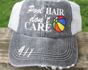 59c64207 Pool Hair Don't Care with Beach Ball Embroidered