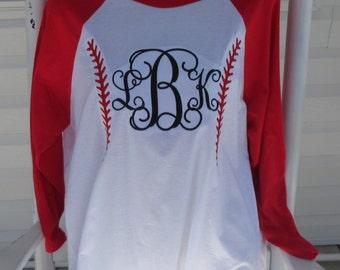 Mongramed baseball raglan shirt  Embroiderd
