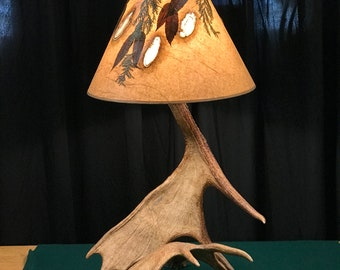 Real Moose table lamp with real white birch shade