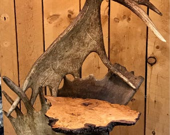 Real moose antler floor lamp with built in table
