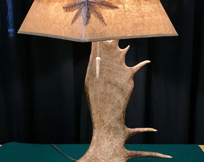 Featured listing image: Real Moose table lamp with custom brazilian agate shade