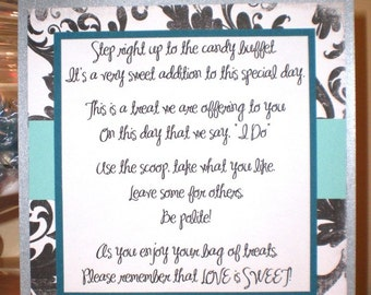 Custom Handmade Candy Buffet Poem Sign for Your Wedding or Birthday