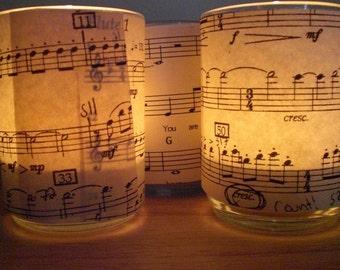 Sheet Music Tea Light Candle Holders  Set of 4