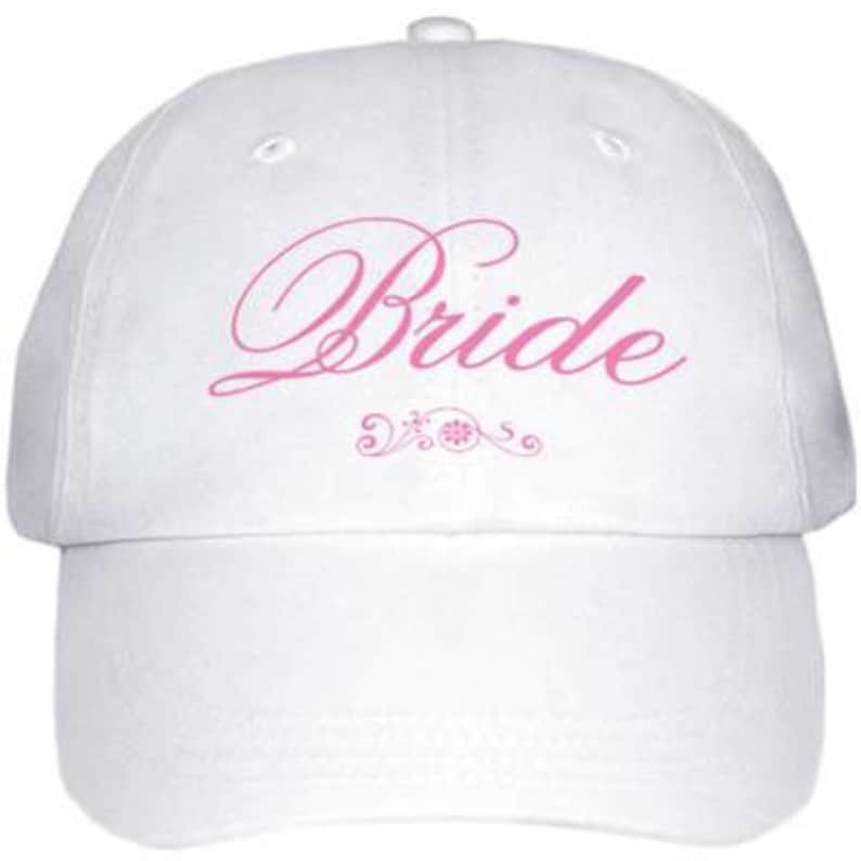 Bride Baseball Cap  White with Pink Text and Flowers