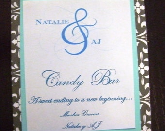 Custom Made Candy Bar Sign for Wedding or Birthday Candy Buffet Free Shipping