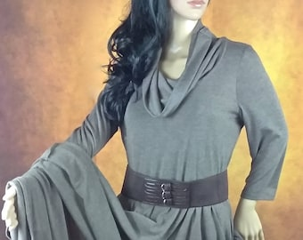 Brown Cowl Neck Dress by Coldwater Creek//Long Sleeve Dress//Built in Slip//Fall Winter Dress//Polyester Blend//Marked PM 10/12/Medium-Large