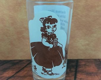 Vintage Mistress Mary Nursery Rhyme Water Glass//Mary, Mary Quite Contrary Tumbler//Collectable Drinkware//