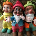 Gund Creations Plush Toys w/Plastic Faces//Novelty Snow White Characters//African American Bashful, Dopey, Grumpy//Walt Disney Collectables