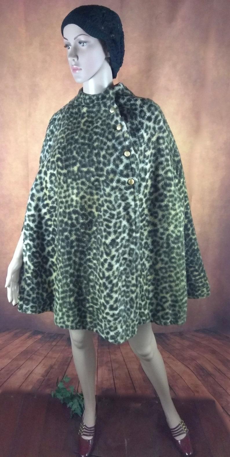 Vintage Leopard PonchoShort Faux Animal Print CapeHandmade Mod CloakGold Tone Button ClosureTwiggy Style