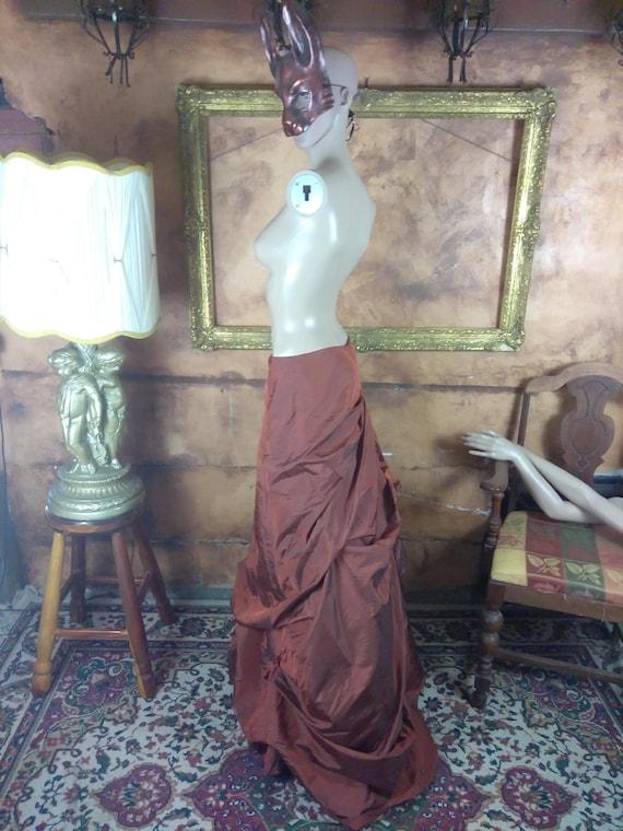 Victorian Inspired Bustled Maxi Skirt//Copper Flo… - image 3