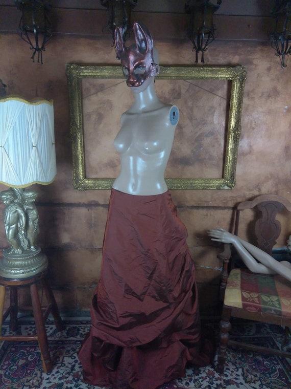 Victorian Inspired Bustled Maxi Skirt//Copper Flo… - image 1