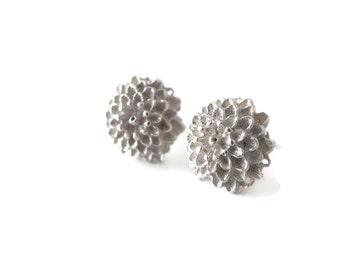 Chrysanthemum - sterling silver earrings - handmade jewelry - silver jewelry