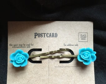 Ramblin Rose Hairpins in Turquoise