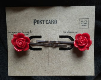 Ramblin' Rose Hairpins in Scarlet