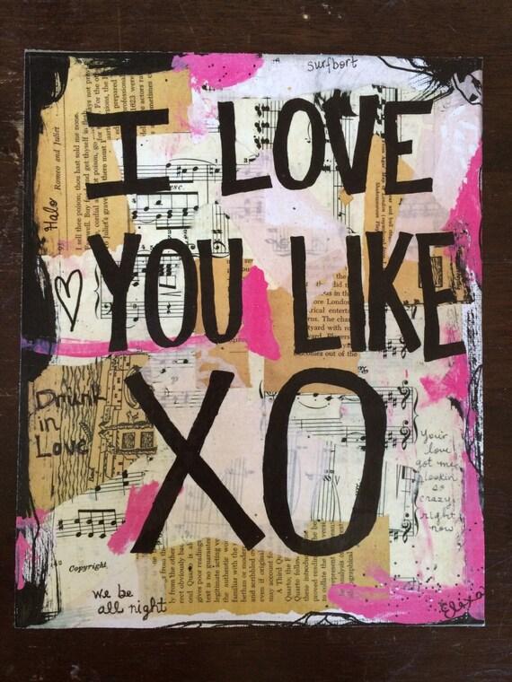 Beyonce Music Valentines Day Art Painting Xo Love Lyrics Song Etsy