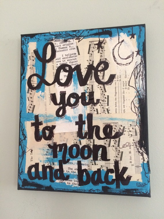 Love You To The Moon And Back Art Print Recycled Collage Etsy