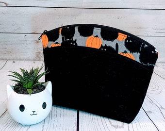 Posh Zipper Bag (medium) - Kitties and Pumpkins accent